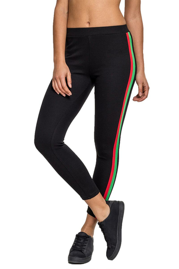 Urban Classics leggings black with side stripe