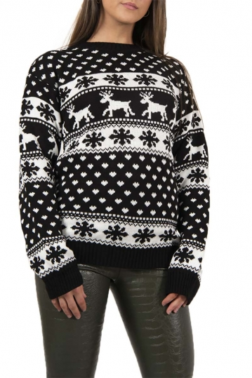 Black reindeers and snow flake christmas jumper