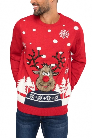 Threadbare red reindeer christmas jumper