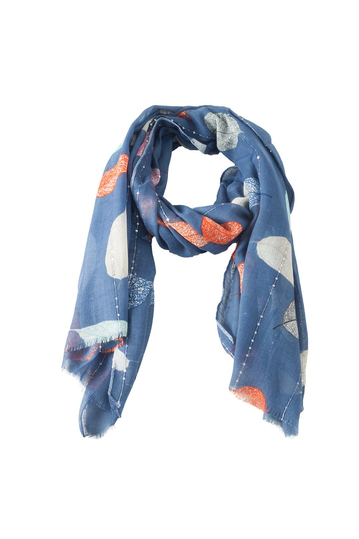 Scarf blue with colorful leaves and sequins