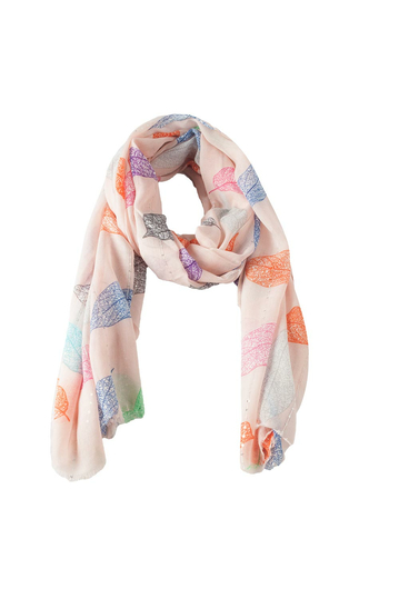 Scarf pink with colorful leaves and sequins