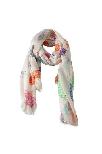 Scarf white with colorful leaves and sequins