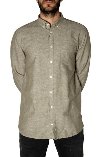 Gnious linen blend men's shirt Linus burned olive