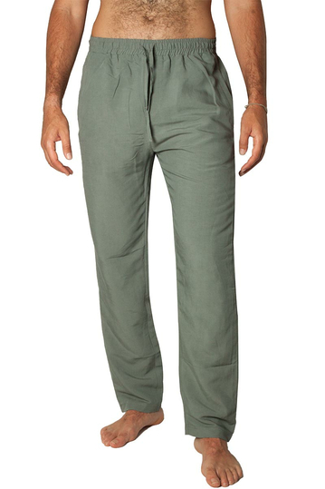 Bigbong linen blend pants Safari grey