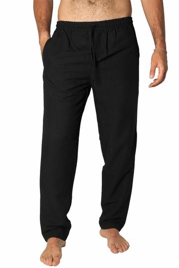 Bigbong linen blend pants Safari black