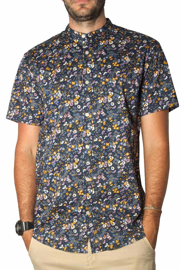 Short sleeve floral shirt with Mao collar