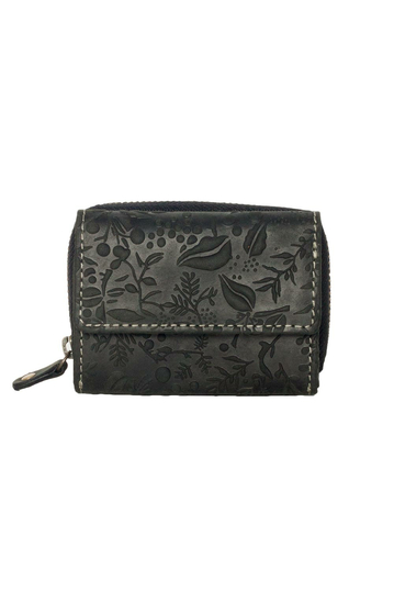 Hill Burry RFID leather small zip wallet black