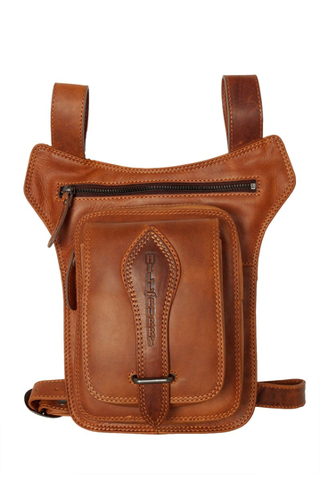 Hill Burry belt and thigh leather bag brown