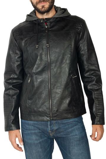 PU biker jacket black with contrast hood