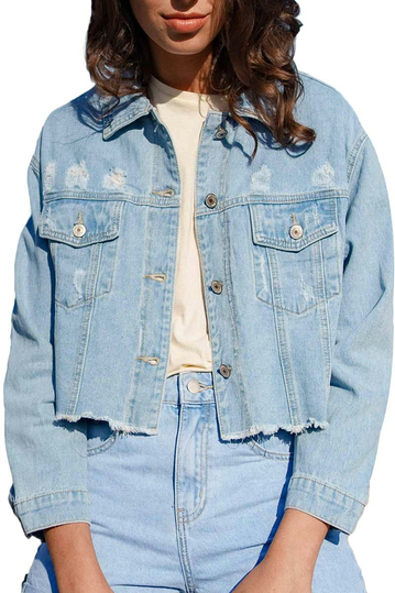 Oraije distressed cropped denim jacket