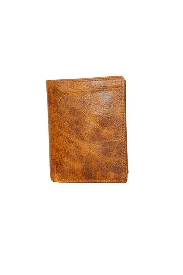 Black Buck leather vertical wallet natural light brown - RFID