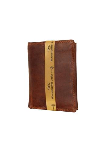 Black Buck leather vertical wallet brown - RFID