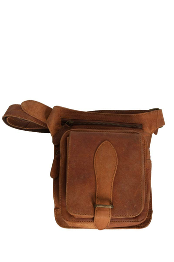 Black Buck belt and thigh leather bag brown