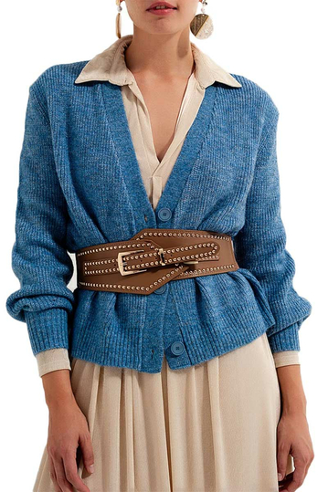 Q2 knitted cardigan blue