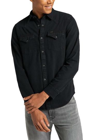 Lee regular western denim shirt - black