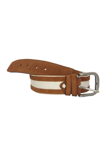 Canvas belt beige with brown suede