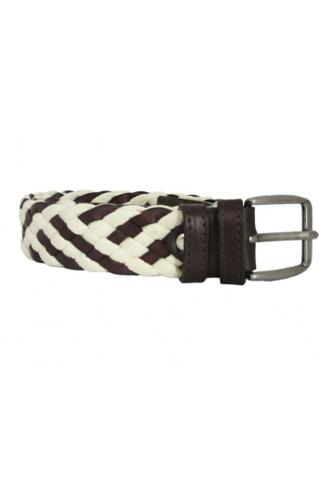 Leather braided belt brown-ecru