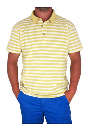Humor men's stripe polo t-shirt Norway misted yellow