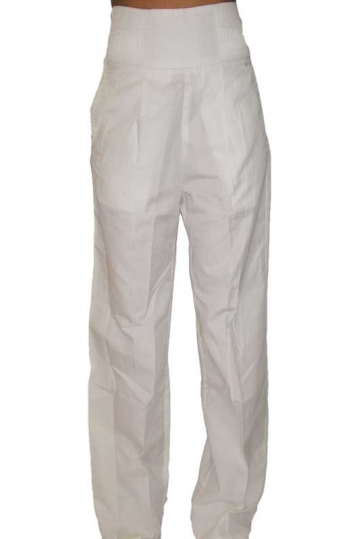 Wesc women's high waist pleat trousers in white