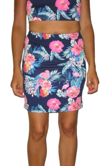 Glamorous women's mini tube skirt with flamingo print