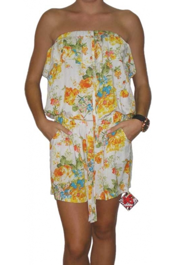 Strapless ruffle playsuit with yellow roses print