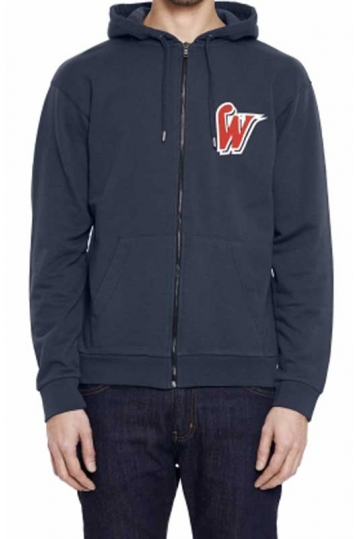 Wesc Power Hitters men's zip hooded sweatshirt in indigo blue