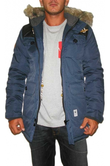 Bellfield men's hooded parka jacket Carbon navy
