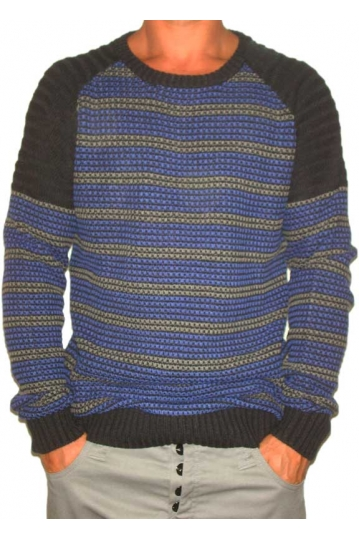 Humor Job men's knit sweater in blue