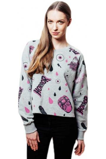 Worn By Horror print women's cropped sweatshirt