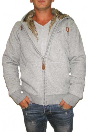 Men's faux-fur lined sweat jacket in grey melange