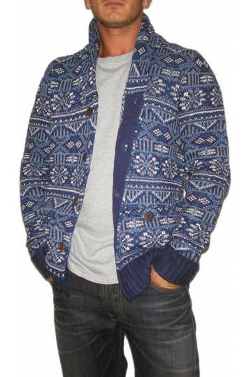Bellfield men's Jacquard cardigan blue