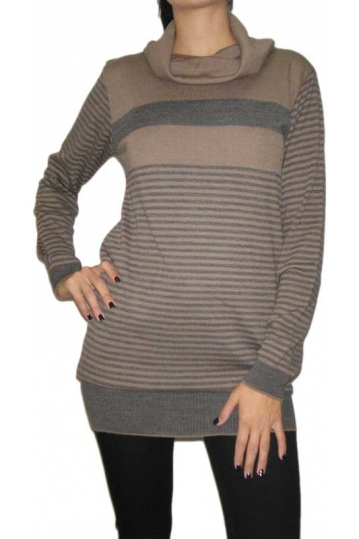 Agel Knitwear striped jumper cowl neck dress