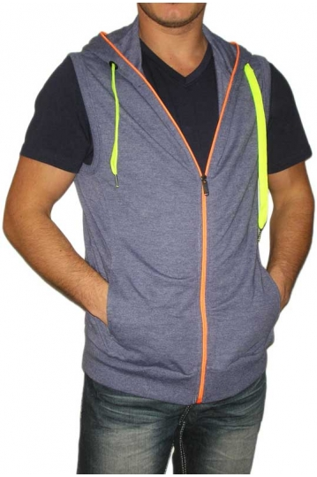 Men's sleeveless zip hoodie in blue marl