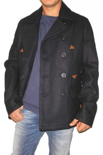 Bellfield men's double breasted pea coat Metta in navy