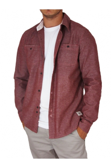 Bellfield men's long sleeve shirt Laker burgundy