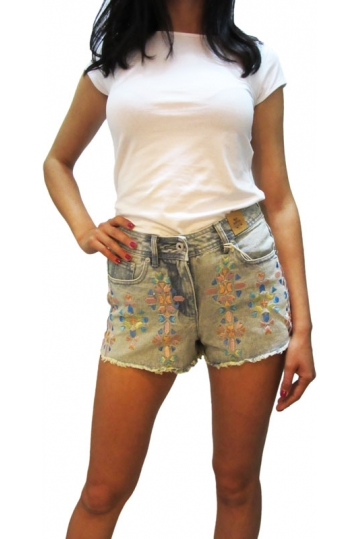 Bellfield Priscilla high waist denim shorts embroidery