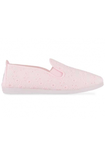 Flossy Florals Rioja womens Plimsoll baby pink