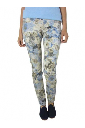 Women's cigarette floral trouser beige-blue