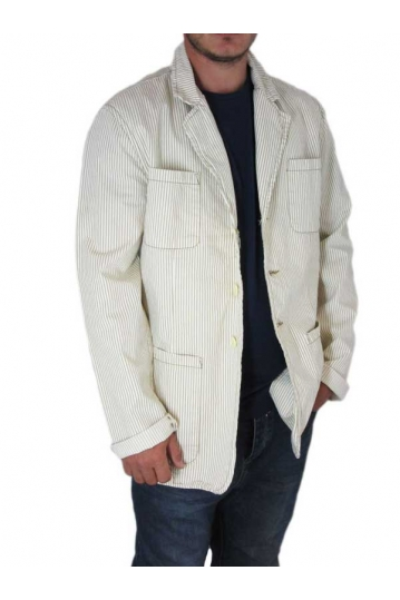 Freesoul men's striped blazer in beige