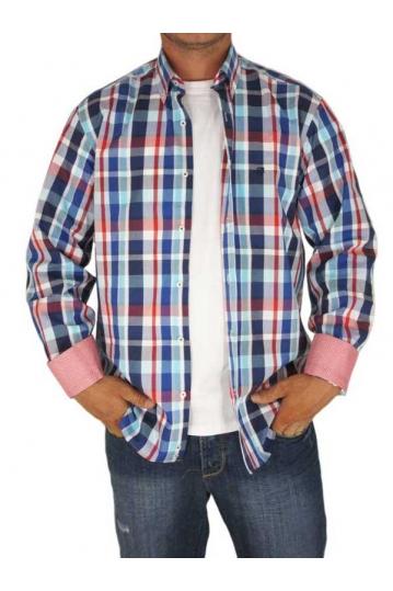 Jazzy ανδρικό καρό πουκάμισο μπλε-κόκκινο Stylista