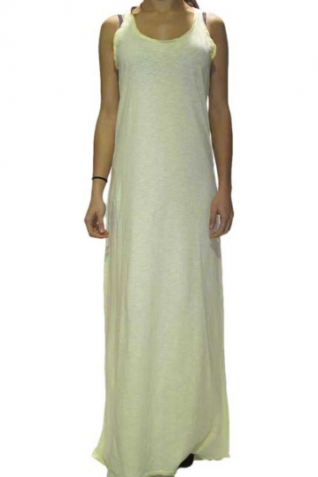 Old Glory Gr light yellow cotton maxi dress
