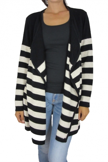 Agel Knitwear striped cardigan black-beige