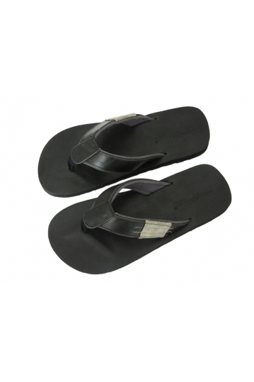 Men's flip flop sandals leather-canvas in black-grey