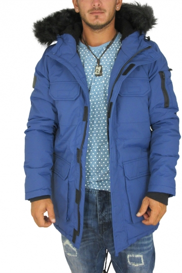 Bellfield Nimrod men's fishtail parka blue with hood