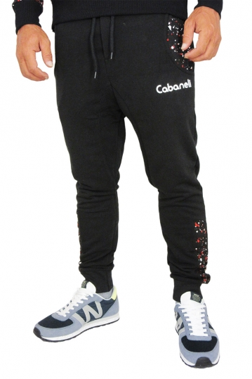 Cabaneli sweatpants in black with red snow print pockets