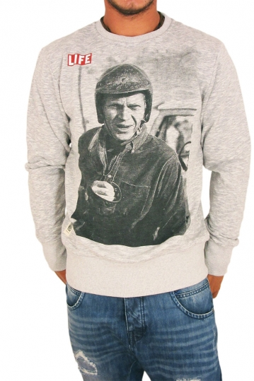Worn by men's sweatshirt  Life Steve McQueen grey marl