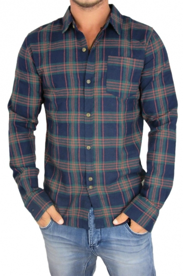 Bellfield men's flannel tartan check shirt Petra navy