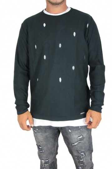 Combos men's knit jumper with holes in black