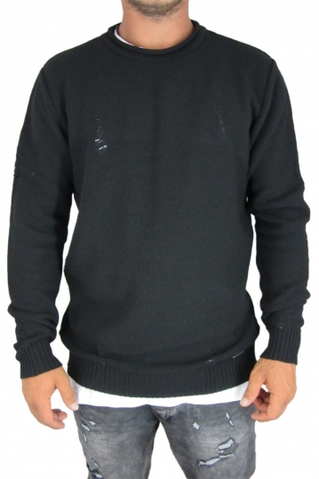 Combos men's ladder knit jumper in black