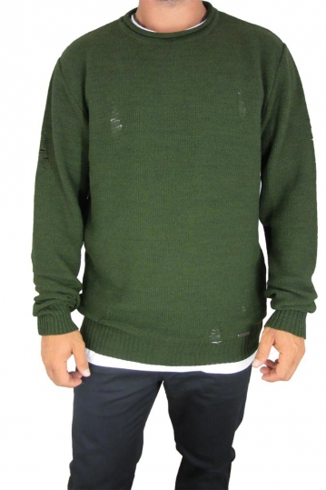 Combos men's ladder knit jumper in olive green